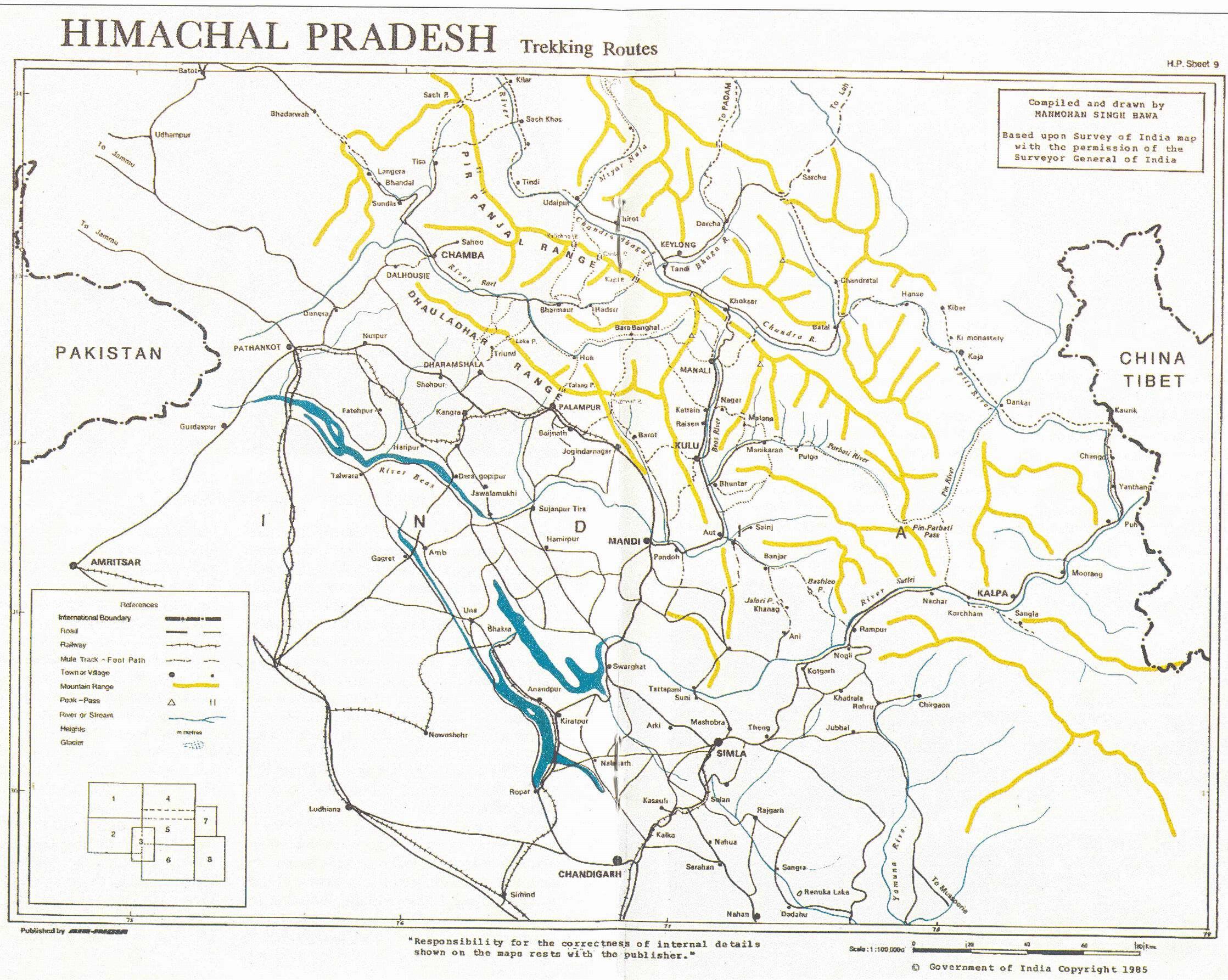 Карта штата Химачал Прадеш: Гималаи, Малый Тибет и равнины (Индия)