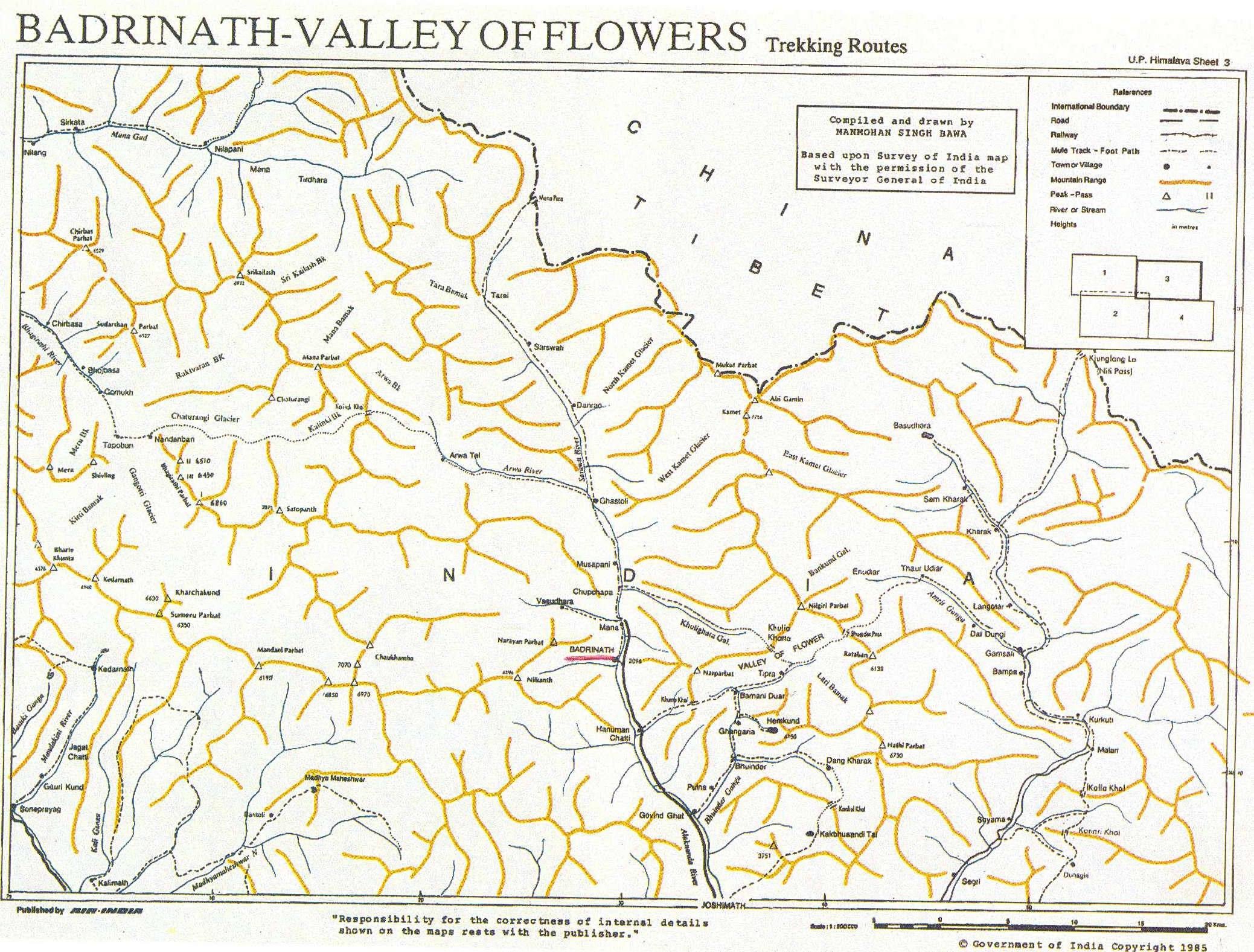Карта туристических и трекинговых маршрутов штата Уттаранчал (Гархвал, Бадринатх, Долина цветов)