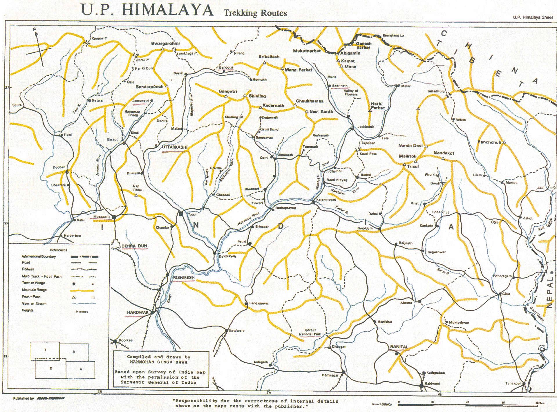 Карта туристических и трекинговых маршрутов штата Уттаранчал\ Харидвар, Ришикеш, Ганготри, Ямунотри, Уттаркаши, Муссури, Бадринатх, Нанитал, Алмора